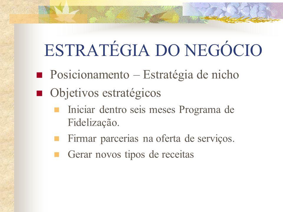 ESTRATÉGIA DO NEGÓCIO Posicionamento – Estratégia de nicho Objetivos estratégicos Iniciar dentro seis meses Programa de Fidelização. Firmar parcerias