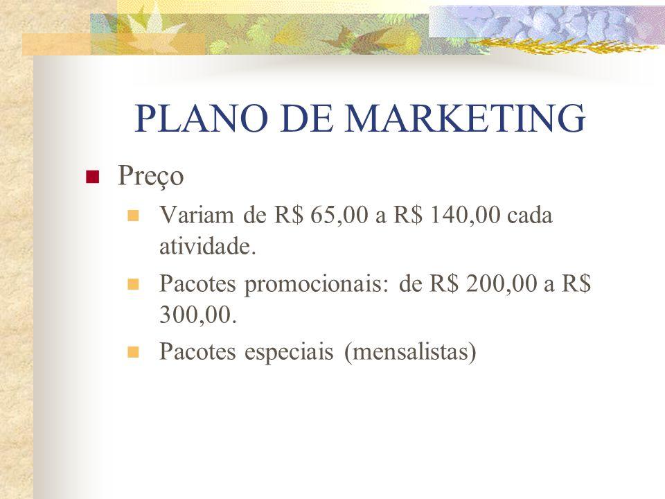 PLANO DE MARKETING Preço Variam de R$ 65,00 a R$ 140,00 cada atividade. Pacotes promocionais: de R$ 200,00 a R$ 300,00. Pacotes especiais (mensalistas