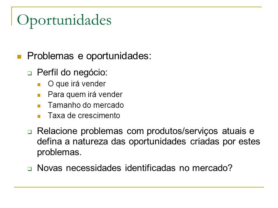 Oportunidades Problemas e oportunidades: Perfil do negócio: O que irá vender Para quem irá vender Tamanho do mercado Taxa de crescimento Relacione pro