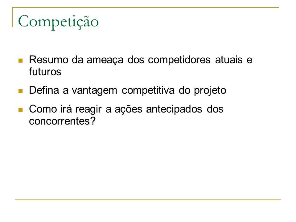 Competição Resumo da ameaça dos competidores atuais e futuros Defina a vantagem competitiva do projeto Como irá reagir a ações antecipados dos concorr