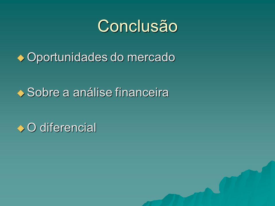 Conclusão Oportunidades do mercado Oportunidades do mercado Sobre a análise financeira Sobre a análise financeira O diferencial O diferencial