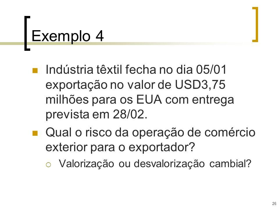 26 Exemplo 4 Indústria têxtil fecha no dia 05/01 exportação no valor de USD3,75 milhões para os EUA com entrega prevista em 28/02. Qual o risco da ope