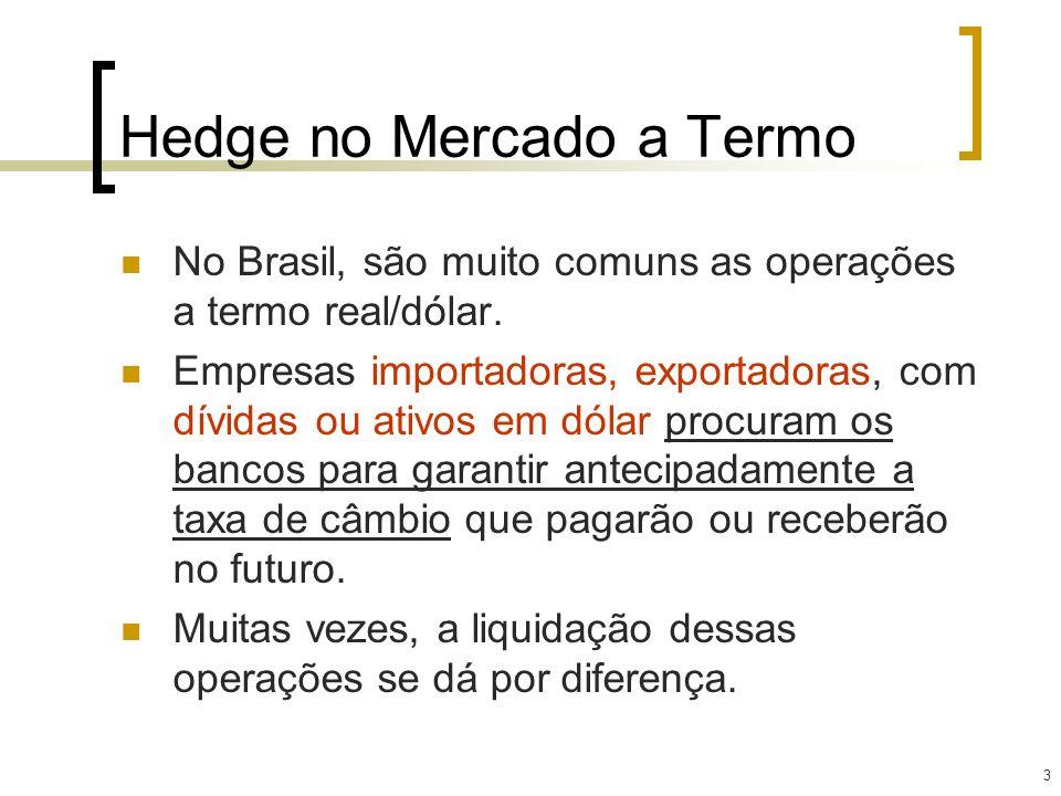 3 Hedge no Mercado a Termo No Brasil, são muito comuns as operações a termo real/dólar. Empresas importadoras, exportadoras, com dívidas ou ativos em
