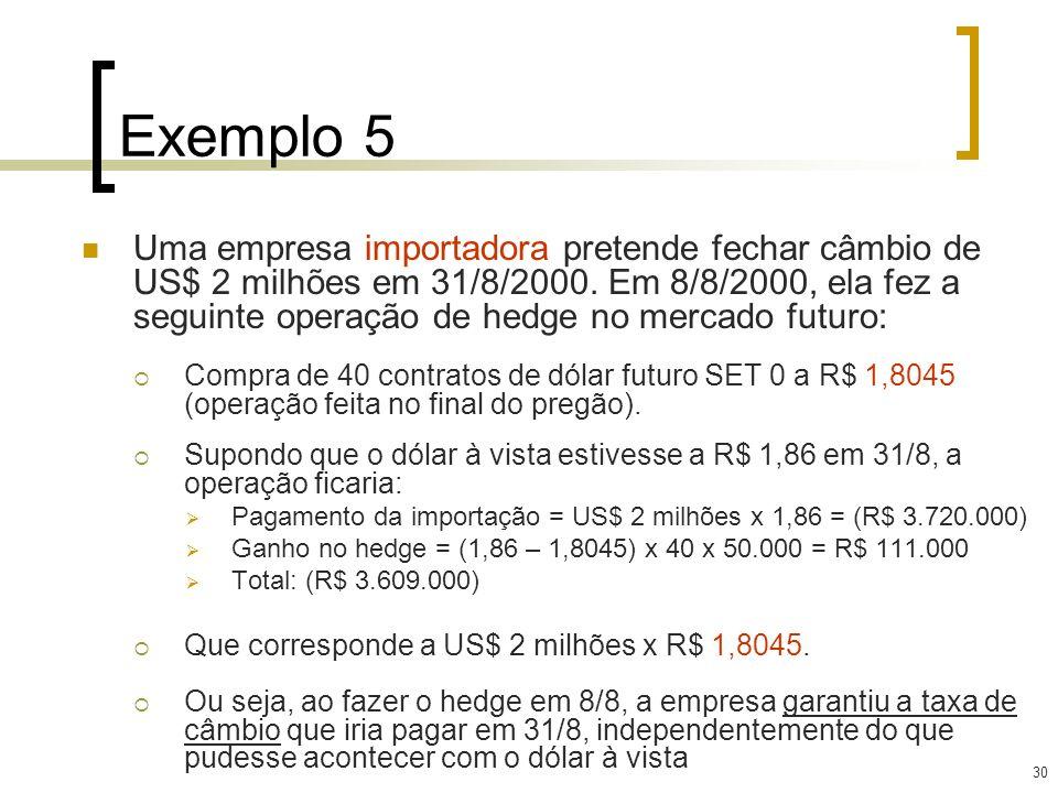 30 Exemplo 5 Uma empresa importadora pretende fechar câmbio de US$ 2 milhões em 31/8/2000. Em 8/8/2000, ela fez a seguinte operação de hedge no mercad