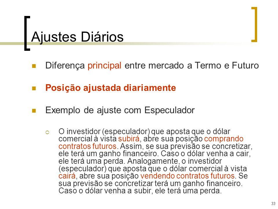 33 Diferença principal entre mercado a Termo e Futuro Posição ajustada diariamente Exemplo de ajuste com Especulador O investidor (especulador) que ap