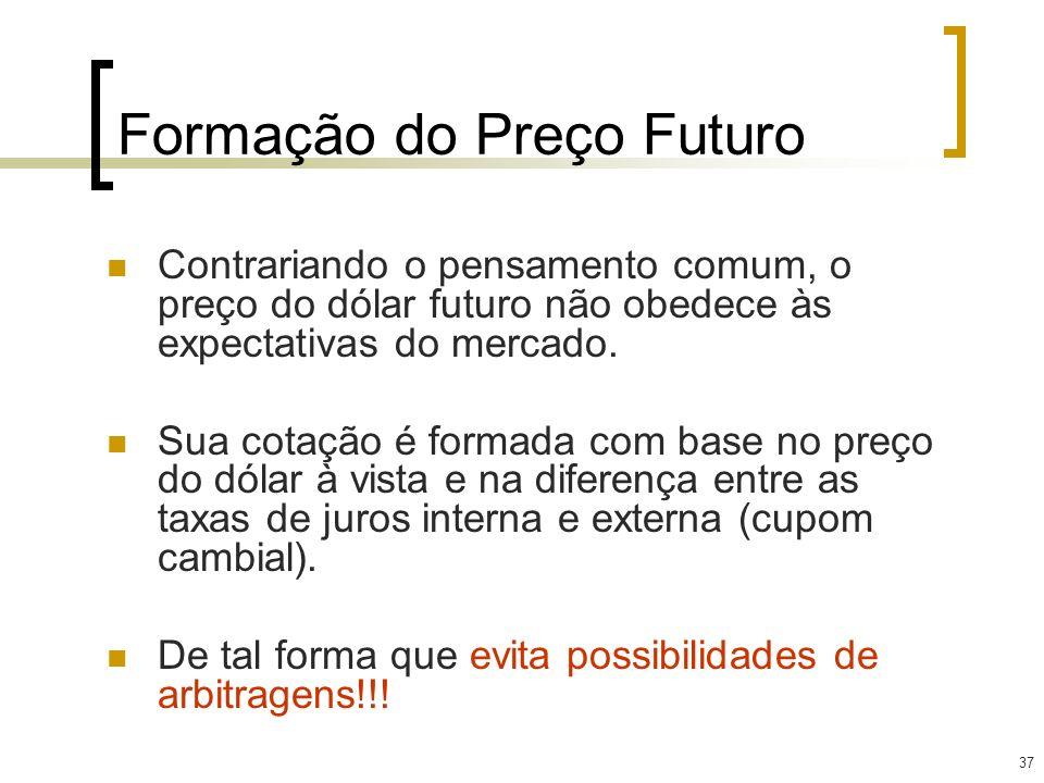37 Formação do Preço Futuro Contrariando o pensamento comum, o preço do dólar futuro não obedece às expectativas do mercado. Sua cotação é formada com