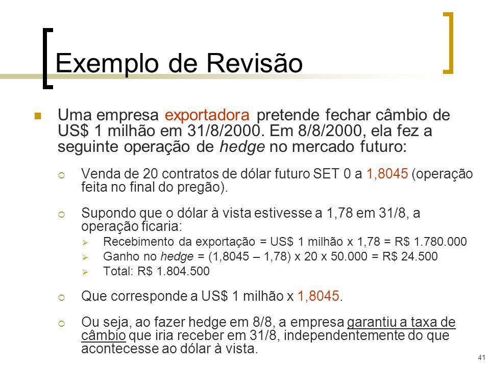 41 Exemplo de Revisão Uma empresa exportadora pretende fechar câmbio de US$ 1 milhão em 31/8/2000. Em 8/8/2000, ela fez a seguinte operação de hedge n