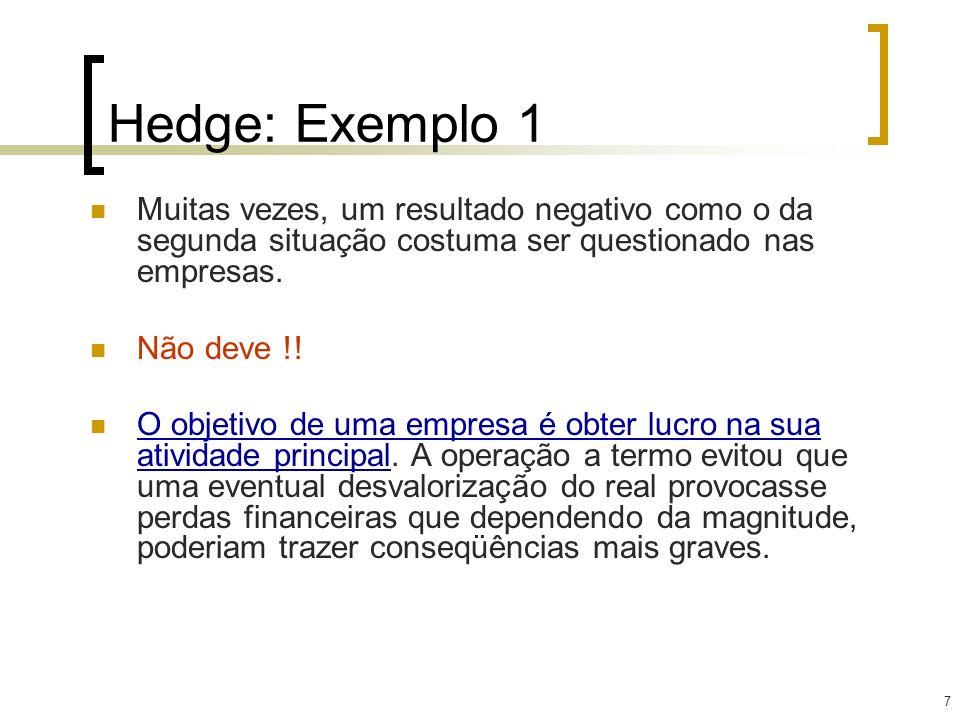 7 Hedge: Exemplo 1 Muitas vezes, um resultado negativo como o da segunda situação costuma ser questionado nas empresas. Não deve !! O objetivo de uma