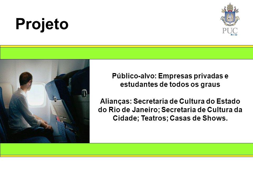 Público-alvo: Empresas privadas e estudantes de todos os graus Alianças: Secretaria de Cultura do Estado do Rio de Janeiro; Secretaria de Cultura da Cidade; Teatros; Casas de Shows.