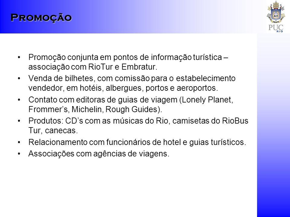 Promoção conjunta em pontos de informação turística – associação com RioTur e Embratur. Venda de bilhetes, com comissão para o estabelecimento vendedo