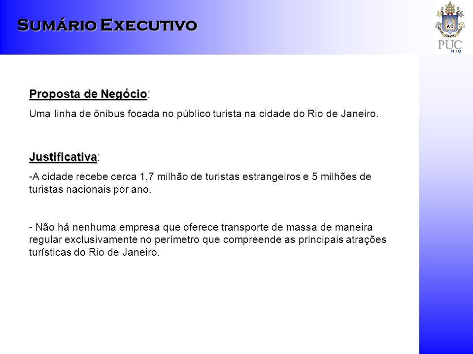 Sumário Executivo Proposta de Negócio Proposta de Negócio: Uma linha de ônibus focada no público turista na cidade do Rio de Janeiro. Justificativa Ju