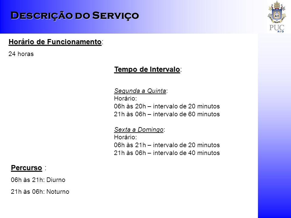 Descrição do Serviço Horário de Funcionamento Horário de Funcionamento: 24 horas Tempo de Intervalo Tempo de Intervalo: Segunda a Quinta: Horário: 06h às 20h – intervalo de 20 minutos 21h às 06h – intervalo de 60 minutos Sexta a Domingo: Horário: 06h às 21h – intervalo de 20 minutos 21h às 06h – intervalo de 40 minutos Percurso Percurso : 06h às 21h: Diurno 21h às 06h: Noturno