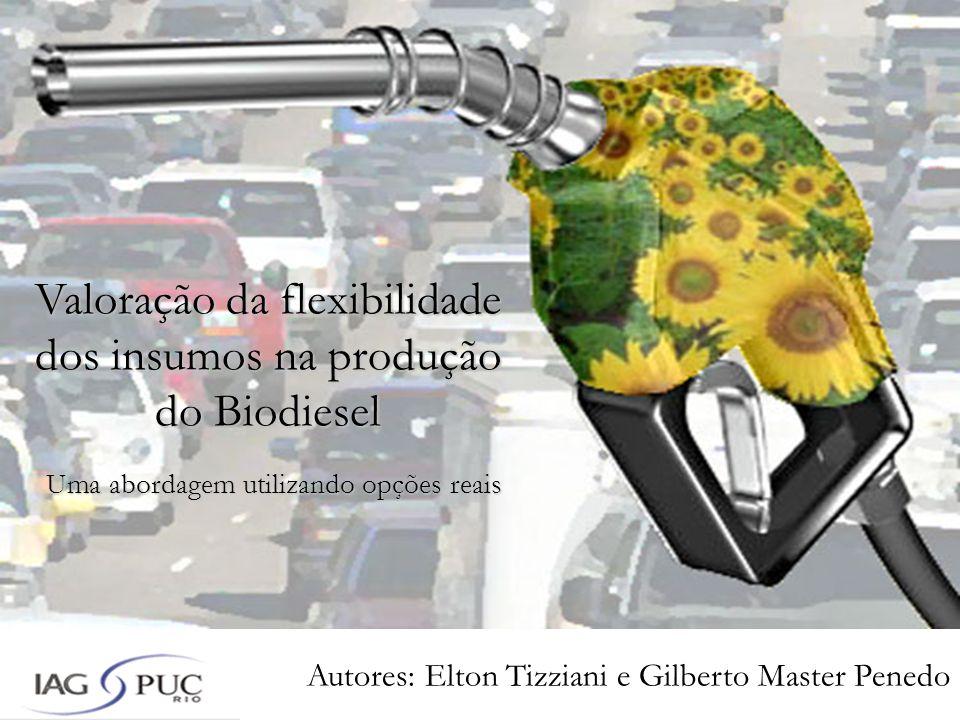 Autores: Elton Tizziani e Gilberto Master Penedo Valoração da flexibilidade dos insumos na produção do Biodiesel Uma abordagem utilizando opções reais