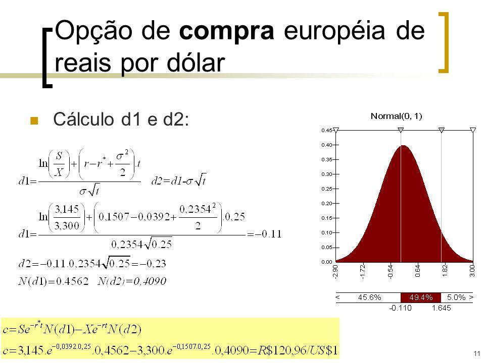 11 Opção de compra européia de reais por dólar Cálculo d1 e d2: