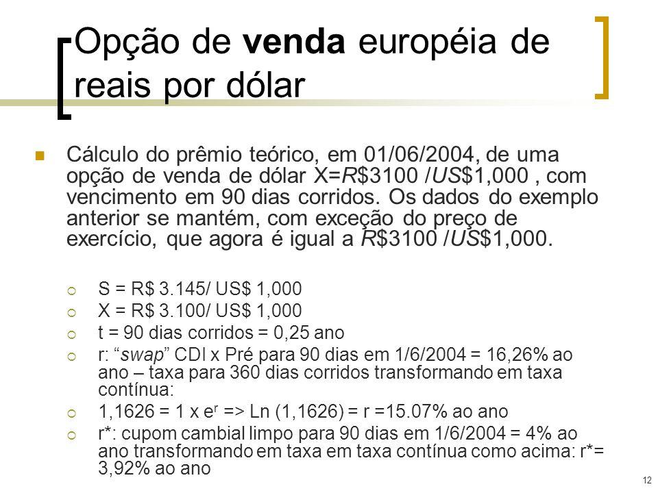 12 Opção de venda européia de reais por dólar Cálculo do prêmio teórico, em 01/06/2004, de uma opção de venda de dólar X=R$3100 /US$1,000, com vencime