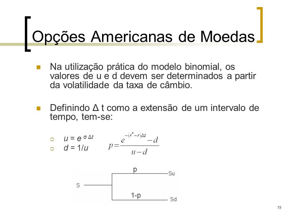 19 Opções Americanas de Moedas Na utilização prática do modelo binomial, os valores de u e d devem ser determinados a partir da volatilidade da taxa d