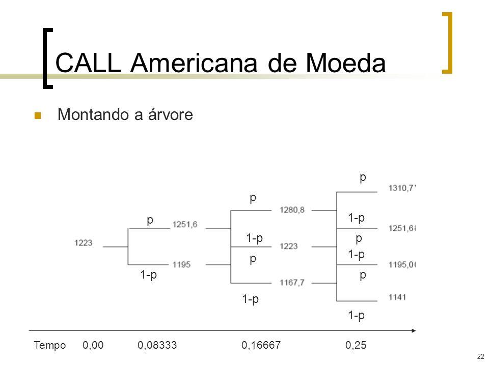 22 CALL Americana de Moeda Montando a árvore p p p p p p 1-p Tempo0,00 0,08333 0,16667 0,25