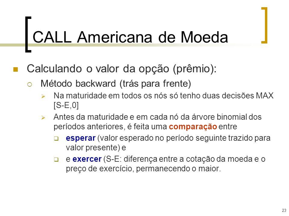 23 CALL Americana de Moeda Calculando o valor da opção (prêmio): Método backward (trás para frente) Na maturidade em todos os nós só tenho duas decisõ