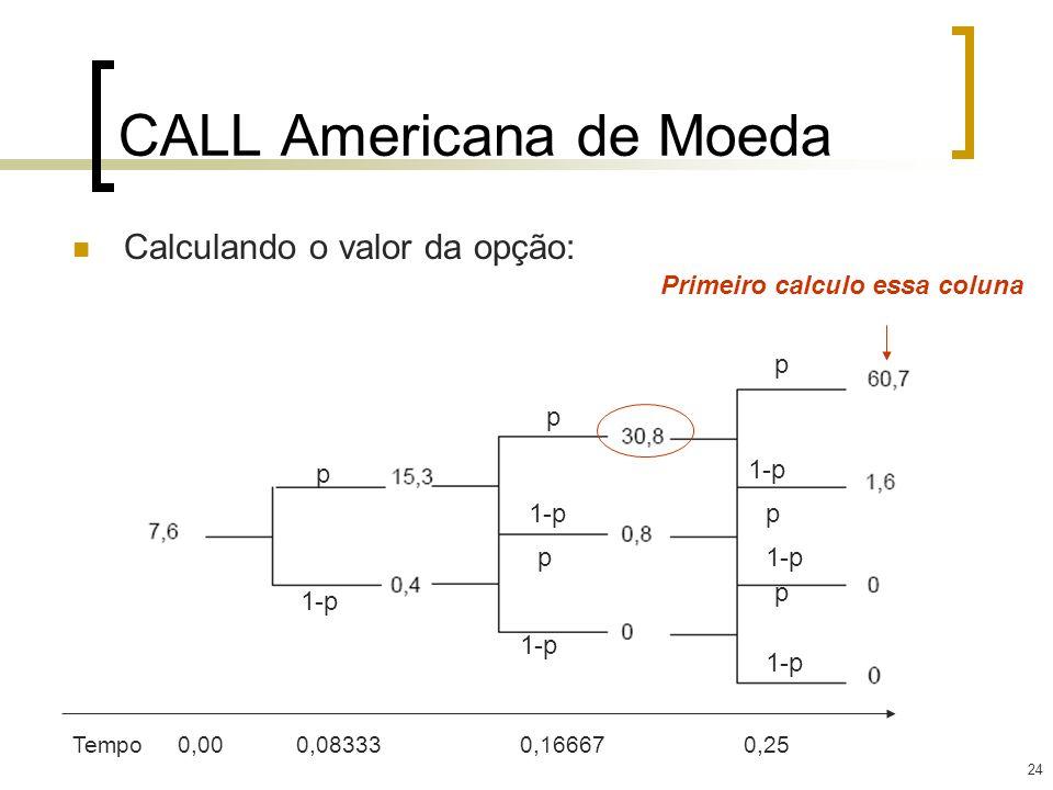 24 CALL Americana de Moeda Calculando o valor da opção: p p p p p p 1-p Tempo0,00 0,08333 0,16667 0,25 Primeiro calculo essa coluna