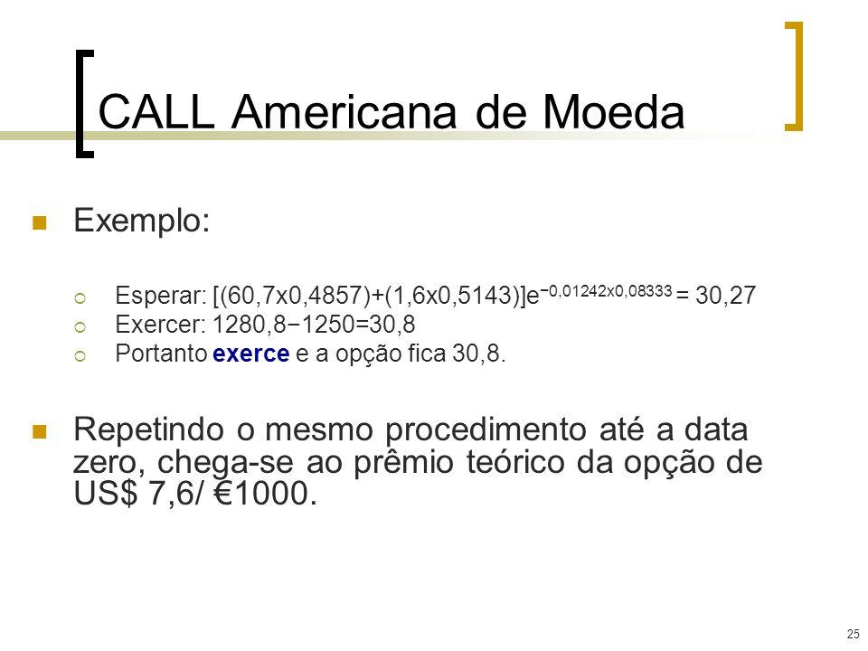 25 CALL Americana de Moeda Exemplo: Esperar: [(60,7x0,4857)+(1,6x0,5143)]e 0,01242x0,08333 = 30,27 Exercer: 1280,81250=30,8 Portanto exerce e a opção
