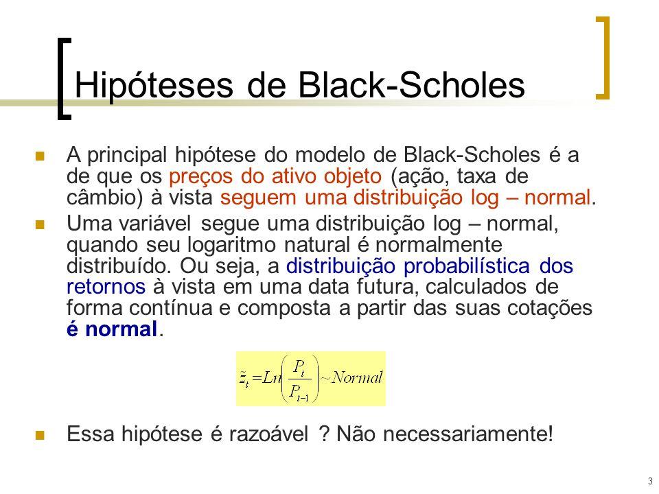 3 Hipóteses de Black-Scholes A principal hipótese do modelo de Black-Scholes é a de que os preços do ativo objeto (ação, taxa de câmbio) à vista segue