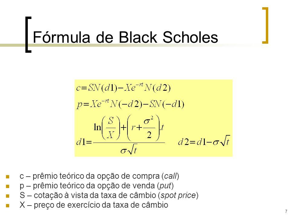 7 Fórmula de Black Scholes c – prêmio teórico da opção de compra (call) p – prêmio teórico da opção de venda (put) S – cotação à vista da taxa de câmb