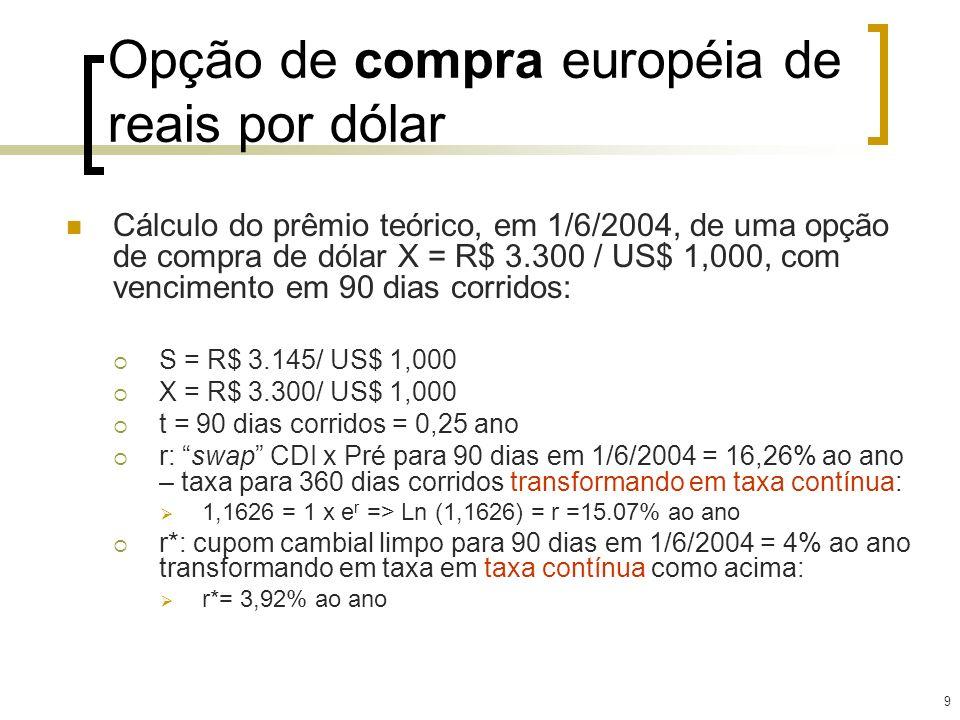 9 Opção de compra européia de reais por dólar Cálculo do prêmio teórico, em 1/6/2004, de uma opção de compra de dólar X = R$ 3.300 / US$ 1,000, com ve