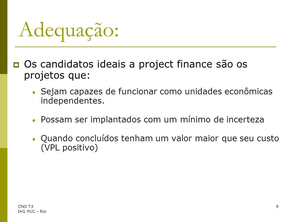 CNO T3 IAG PUC - Rio 10 Vantagens: Pode viabilizar um projeto quando a entidade patrocinadora não teria recursos, crédito suficiente ou interesse em empreende-lo sozinha.