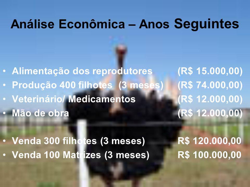 Análise Econômica – Anos Seguintes Alimentação dos reprodutores(R$ 15.000,00) Produção 400 filhotes (3 meses)(R$ 74.000,00) Veterinário/ Medicamentos(