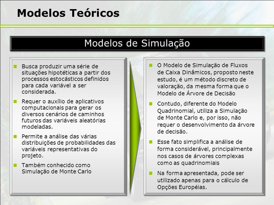Modelos Teóricos Busca produzir uma série de situações hipotéticas a partir dos processos estocásticos definidos para cada variável a ser considerada.