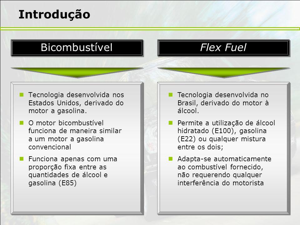 Introdução Tecnologia desenvolvida nos Estados Unidos, derivado do motor a gasolina. O motor bicombustível funciona de maneira similar a um motor a ga