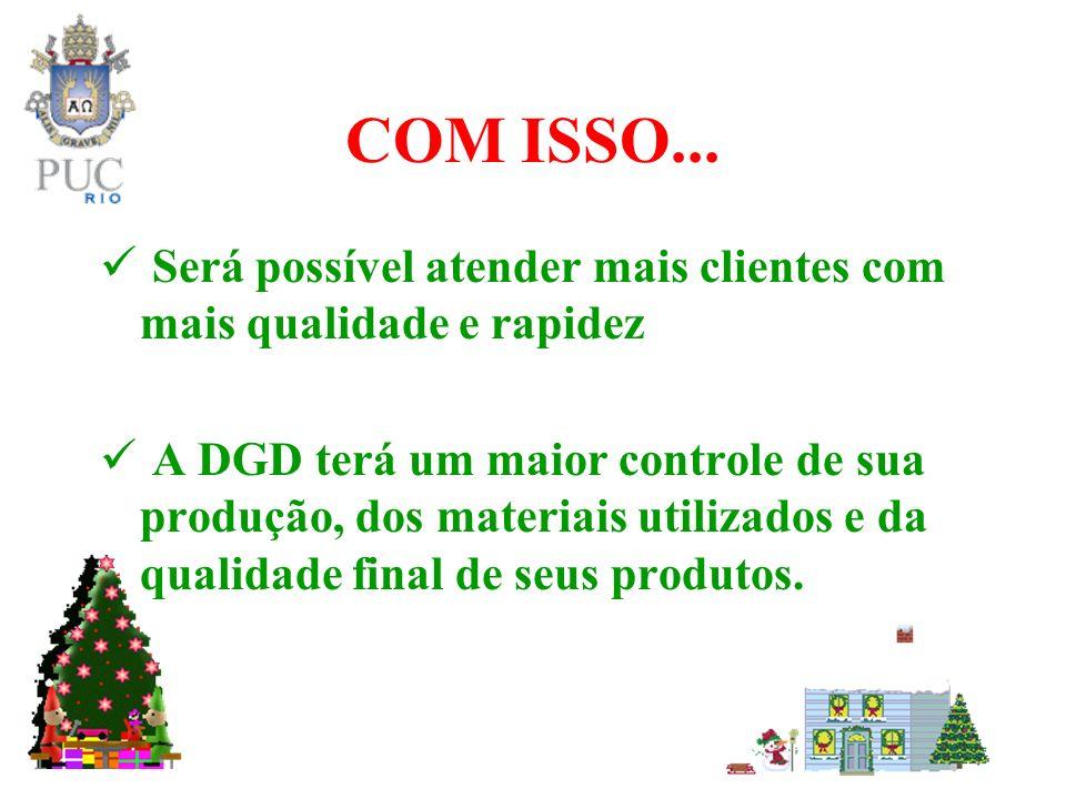 COM ISSO... Será possível atender mais clientes com mais qualidade e rapidez A DGD terá um maior controle de sua produção, dos materiais utilizados e