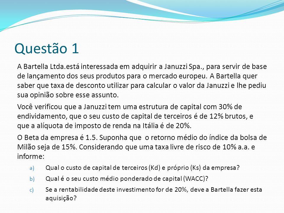 Questão 1 A Bartella Ltda.está interessada em adquirir a Januzzi Spa., para servir de base de lançamento dos seus produtos para o mercado europeu.