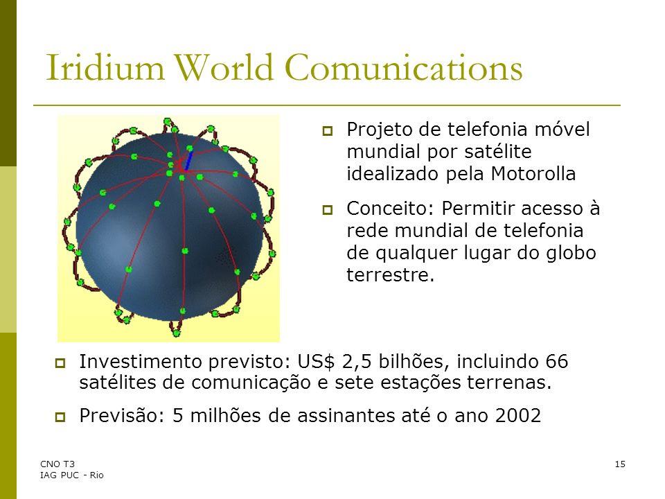 CNO T3 IAG PUC - Rio 15 Iridium World Comunications Projeto de telefonia móvel mundial por satélite idealizado pela Motorolla Conceito: Permitir acess