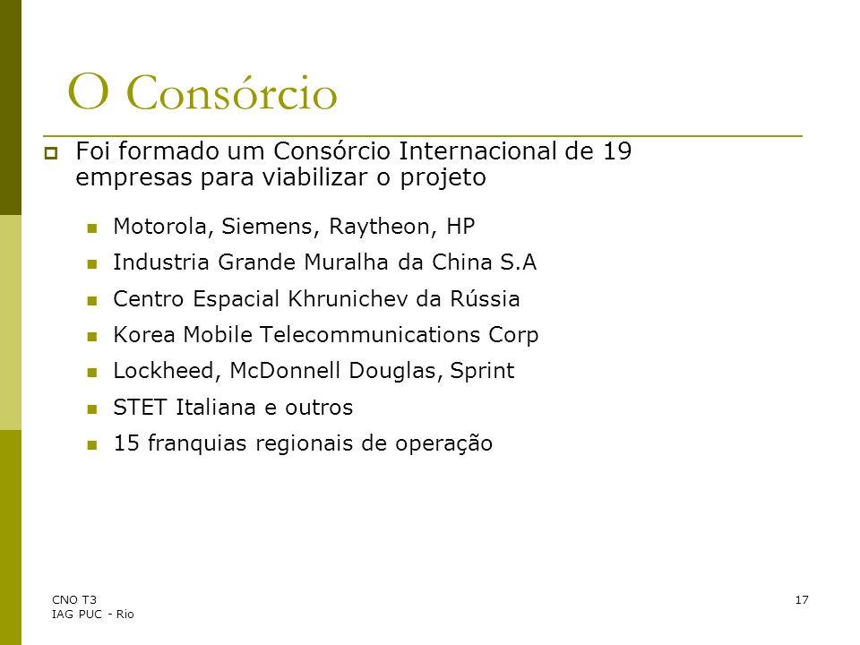CNO T3 IAG PUC - Rio 17 O Consórcio Foi formado um Consórcio Internacional de 19 empresas para viabilizar o projeto Motorola, Siemens, Raytheon, HP In