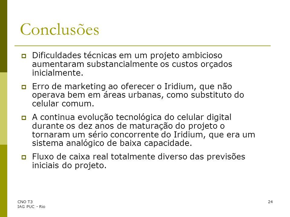 CNO T3 IAG PUC - Rio 24 Conclusões Dificuldades técnicas em um projeto ambicioso aumentaram substancialmente os custos orçados inicialmente. Erro de m