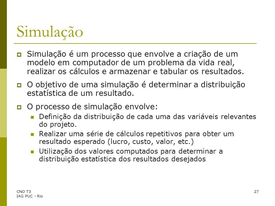 CNO T3 IAG PUC - Rio 27 Simulação Simulação é um processo que envolve a criação de um modelo em computador de um problema da vida real, realizar os cá