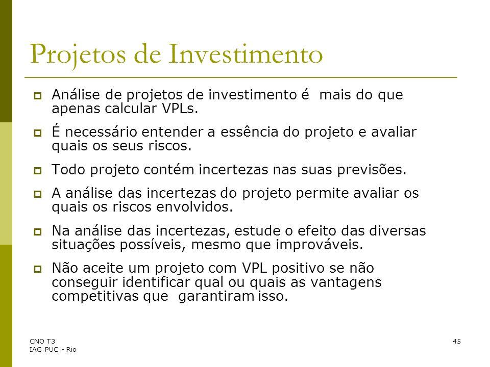 CNO T3 IAG PUC - Rio 45 Projetos de Investimento Análise de projetos de investimento é mais do que apenas calcular VPLs. É necessário entender a essên