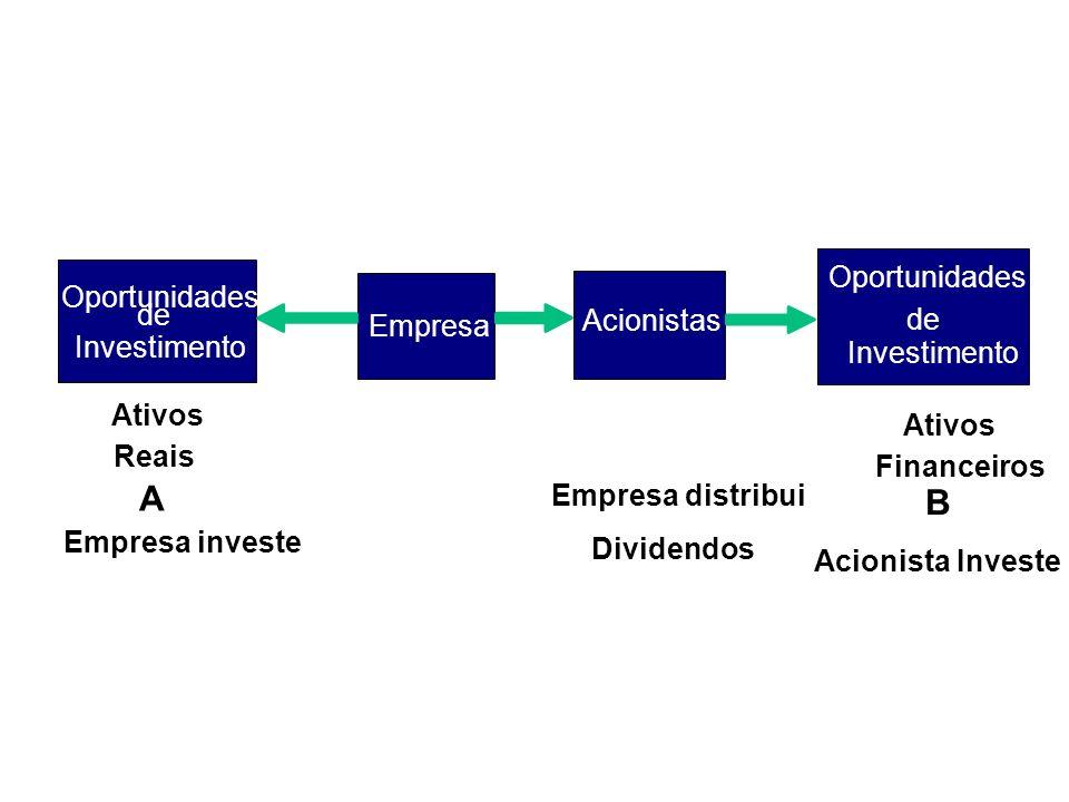 Oportunidades de Investimento Oportunidades de Investimento Ativos Financeiros Ativos Reais Empresa Acionistas Empresa investe Empresa distribui Divid