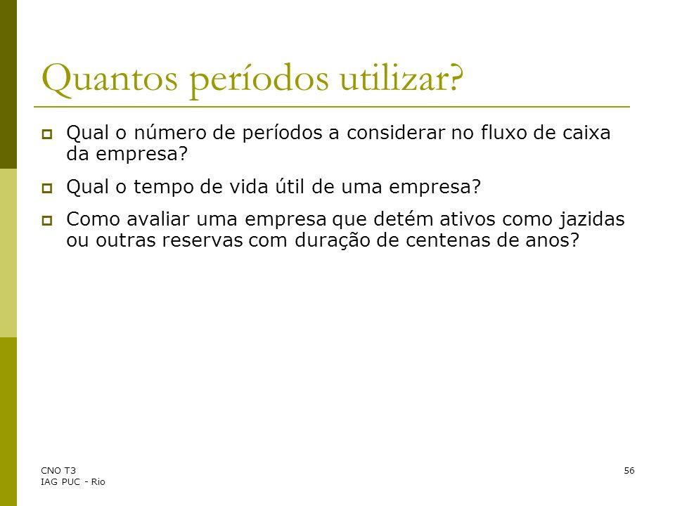 CNO T3 IAG PUC - Rio 56 Quantos períodos utilizar? Qual o número de períodos a considerar no fluxo de caixa da empresa? Qual o tempo de vida útil de u