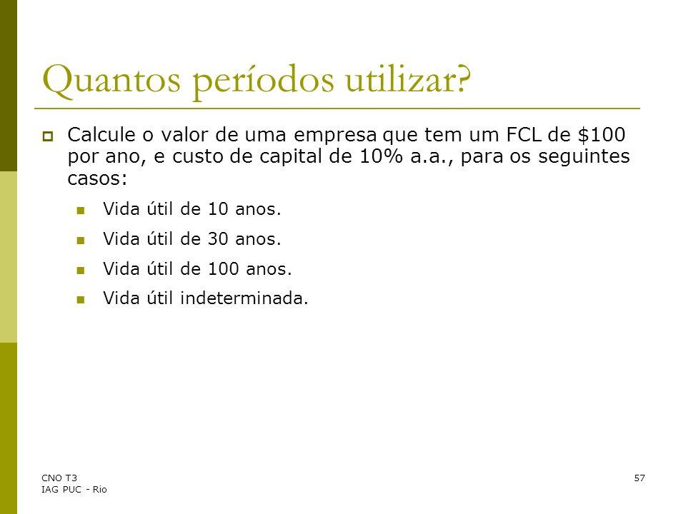 CNO T3 IAG PUC - Rio 57 Calcule o valor de uma empresa que tem um FCL de $100 por ano, e custo de capital de 10% a.a., para os seguintes casos: Vida ú