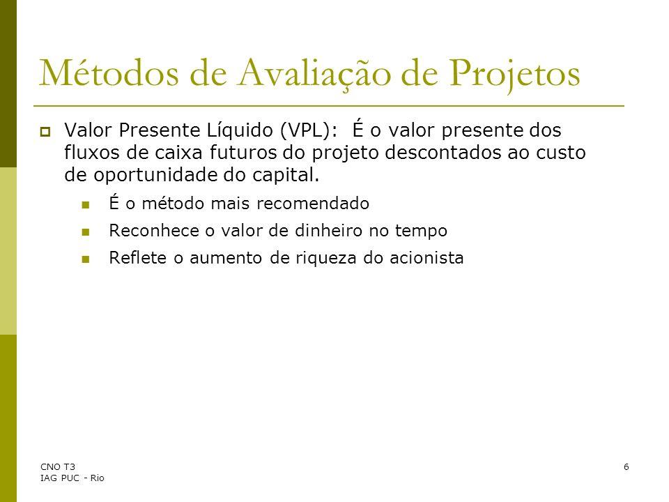 CNO T3 IAG PUC - Rio 6 Métodos de Avaliação de Projetos Valor Presente Líquido (VPL): É o valor presente dos fluxos de caixa futuros do projeto descon