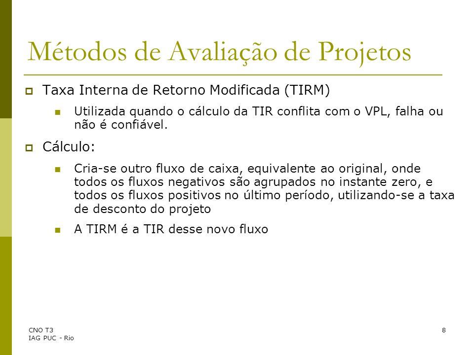 CNO T3 IAG PUC - Rio 8 Taxa Interna de Retorno Modificada (TIRM) Utilizada quando o cálculo da TIR conflita com o VPL, falha ou não é confiável. Cálcu