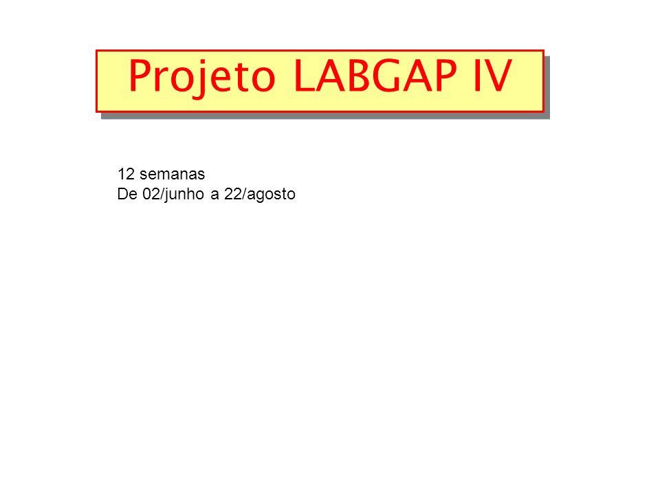12 semanas De 02/junho a 22/agosto Projeto LABGAP IV