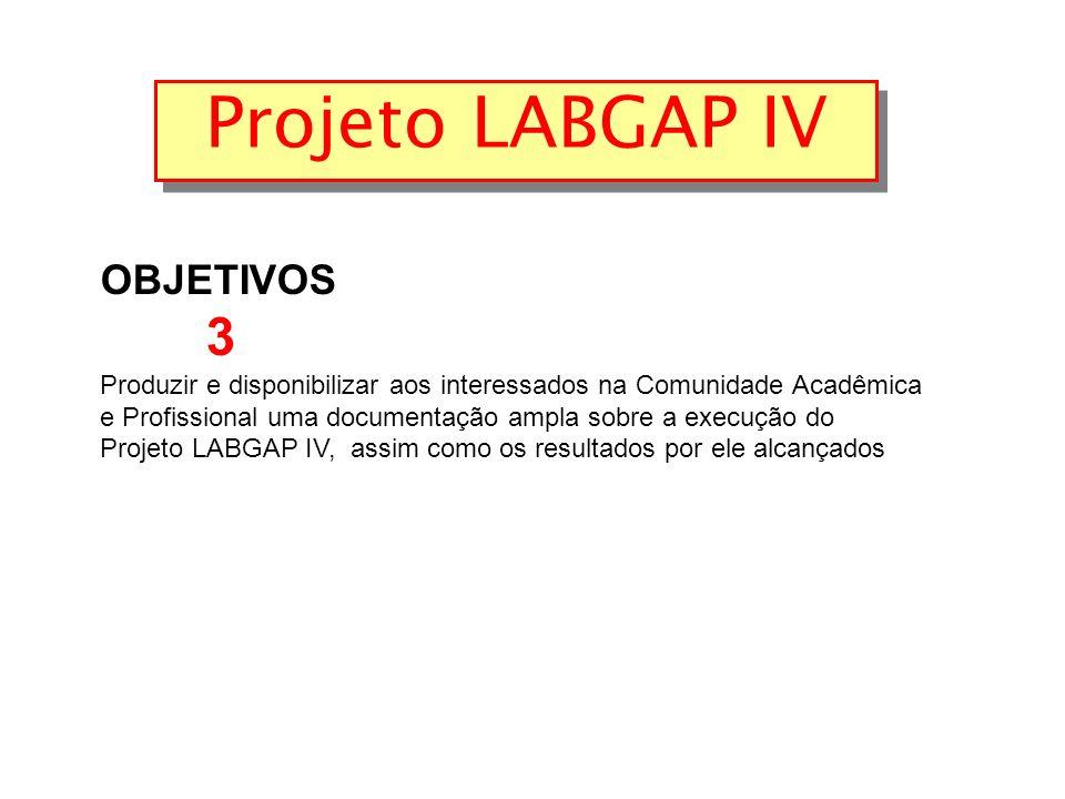 Projeto LABGAP IV OBJETIVOS 3 Produzir e disponibilizar aos interessados na Comunidade Acadêmica e Profissional uma documentação ampla sobre a execução do Projeto LABGAP IV, assim como os resultados por ele alcançados