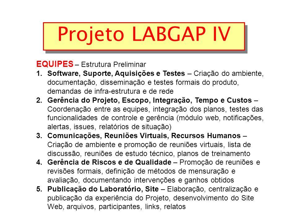 Projeto LABGAP IV EQUIPES – Estrutura Preliminar 1.Software, Suporte, Aquisições e Testes – Criação do ambiente, documentação, disseminação e testes formais do produto, demandas de infra-estrutura e de rede 2.Gerência do Projeto, Escopo, Integração, Tempo e Custos – Coordenação entre as equipes, integração dos planos, testes das funcionalidades de controle e gerência (módulo web, notificações, alertas, issues, relatórios de situação) 3.Comunicações, Reuniões Virtuais, Recursos Humanos – Criação de ambiente e promoção de reuniões virtuais, lista de discussão, reuniões de estudo técnico, planos de treinamento 4.Gerência de Riscos e de Qualidade – Promoção de reuniões e revisões formais, definição de métodos de mensuração e avaliação, documentando intervenções e ganhos obtidos 5.Publicação do Laboratório, Site – Elaboração, centralização e publicação da experiência do Projeto, desenvolvimento do Site Web, arquivos, participantes, links, relatos