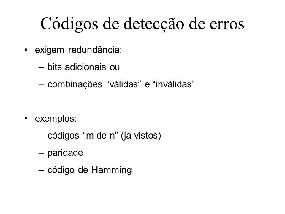 Códigos de detecção de erros exigem redundância: –bits adicionais ou –combinações válidas e inválidas exemplos: –códigos m de n (já vistos) –paridade –código de Hamming