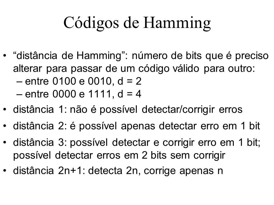 Códigos de Hamming distância de Hamming: número de bits que é preciso alterar para passar de um código válido para outro: –entre 0100 e 0010, d = 2 –entre 0000 e 1111, d = 4 distância 1: não é possível detectar/corrigir erros distância 2: é possível apenas detectar erro em 1 bit distância 3: possível detectar e corrigir erro em 1 bit; possível detectar erros em 2 bits sem corrigir distância 2n+1: detecta 2n, corrige apenas n