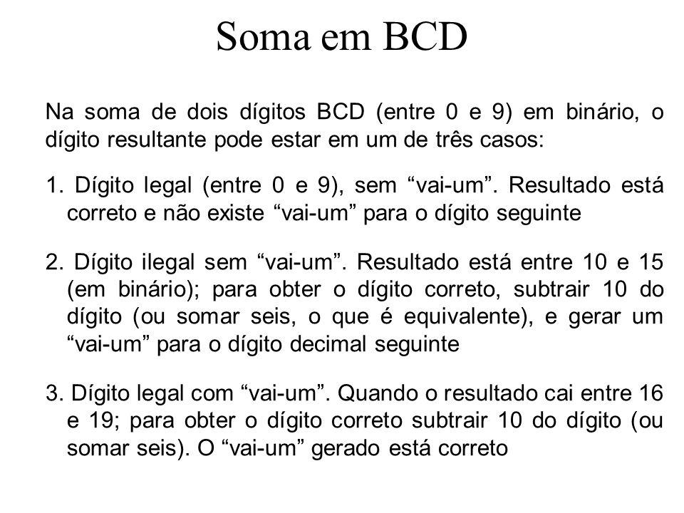 Soma em BCD A = 1 0000100000110010 B =0000100110000011 0001 10110101 caso 1 caso 3 caso 2 caso 1 1 0001 10110101 0110 0001100000010101 Sejam A = 0832 e B = 0983 Tratando-se cada caso, tem-se: