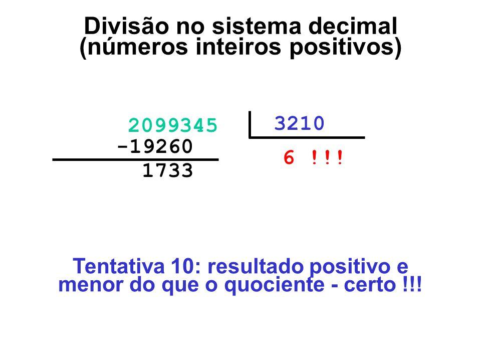 1733000 2099345 3210 6 !!! -19260000 Divisão no sistema decimal (números inteiros positivos) Tentativa 10: resultado positivo e menor do que o quocien